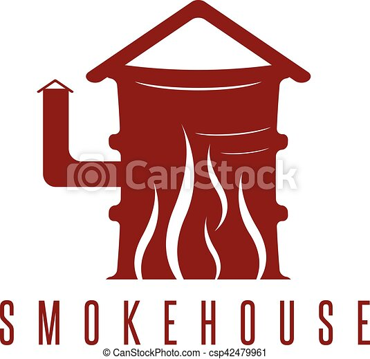 smokehouse vector concept with barrel and flame clip art
