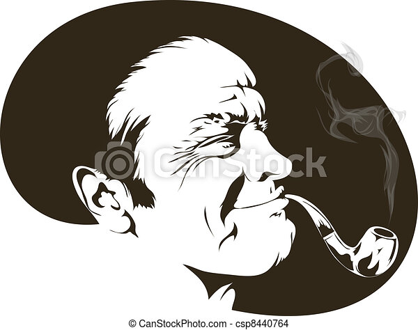 smoker with a pipe - csp8440764
