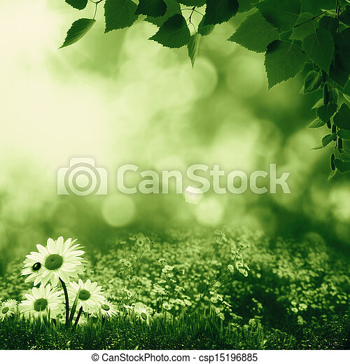 Smokey summer day on the meadow, abstract natural landscape - csp15196885