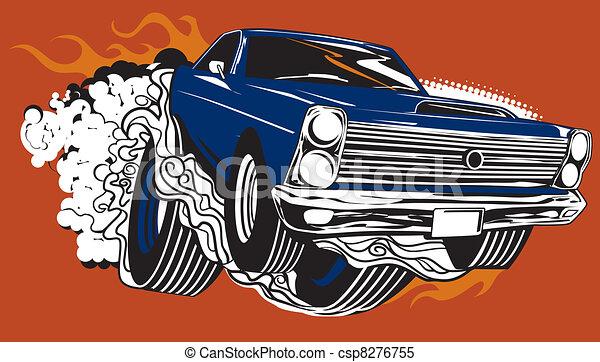 Smokin Muscle Car A Hot Rod Raising Smoke