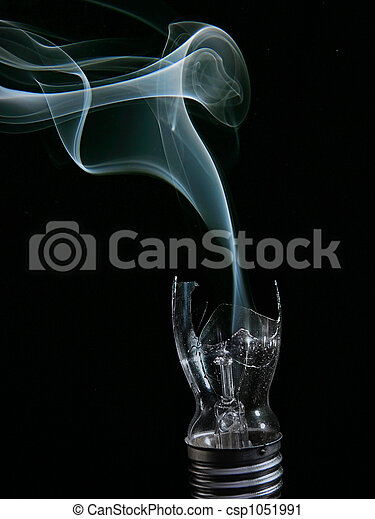 smoking busted lightbulb - csp1051991
