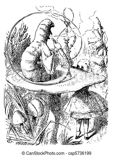Smoking Caterpillarin Alice in Wonderland - csp5736199