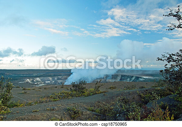 Smoking Crater of Halemaumau Kilauea Volcano in Hawaii Volcanoes National Park on Big Island - csp18750965
