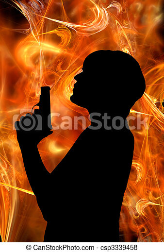 Smoking Gun And Woman Woman Blowing The Smoke Off The Tip Of Her Gun Barrel In Front Of Hot Fire Background