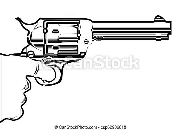Smoking gun outline. A revolver pistol being held in ...
