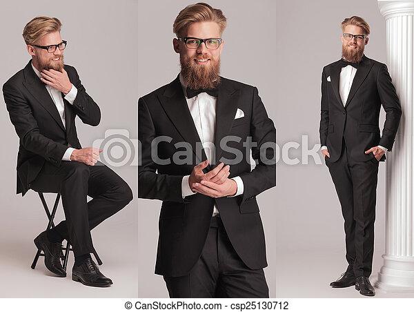 sélectionner pour plus récent économies fantastiques prix imbattable smoking, long, arc, élégant, complet, cravate, barbe, homme