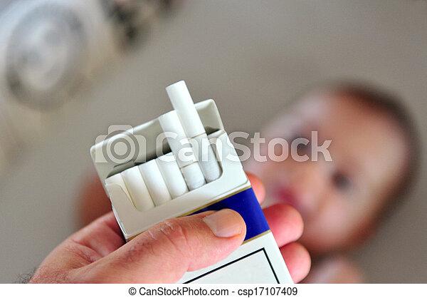Smoking near children concept photo - csp17107409