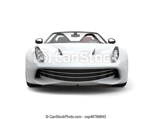Smooth White Luxury Sports Car Front View