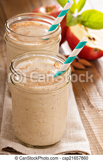 smoothie, cannelle, banane, pomme - csp21657860