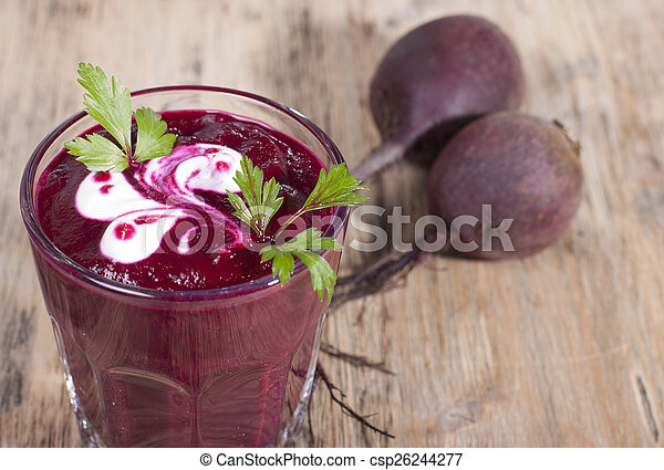 Smoothie of boiled beets with parsley and sour cream. - csp26244277