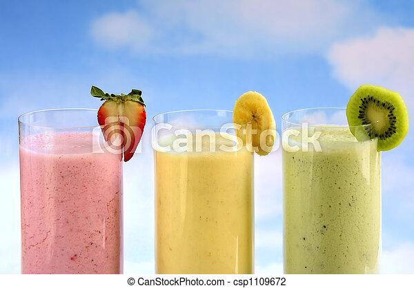 smoothies, 과일, 분류된 - csp1109672