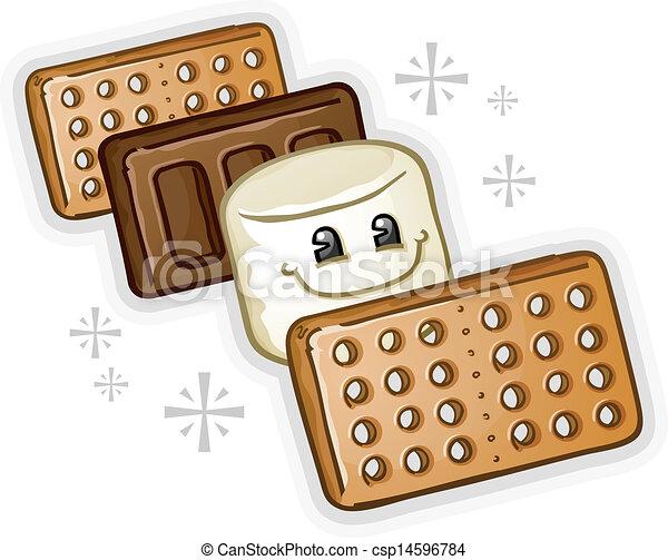 Smores Marshmallow Cartoon - csp14596784