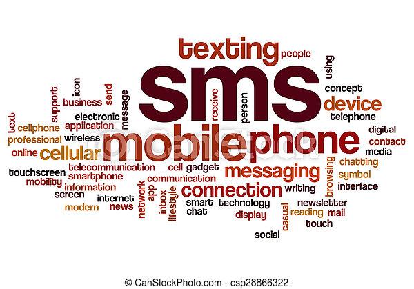 sms, begrepp, ord, moln - csp28866322
