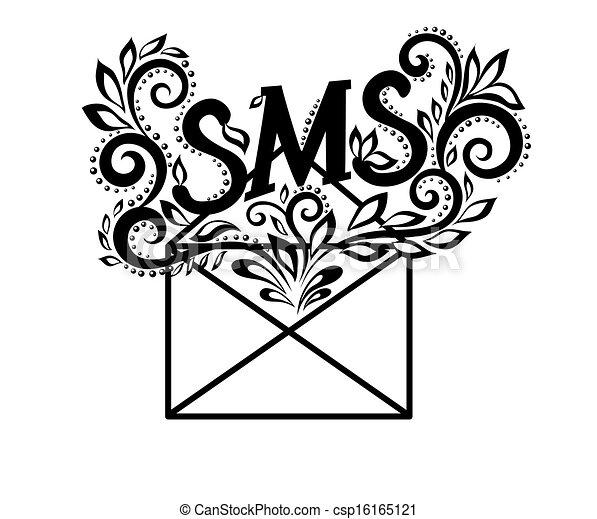 Sms, bild, briefkuvert, blumen-, logo, schwarzweiss, style ...