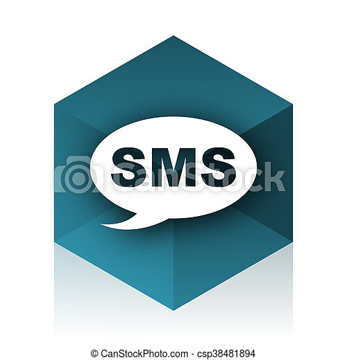 sms blue cube icon, modern design web element - csp38481894