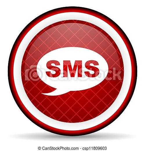 sms, glatt, bakgrund, vit röd, ikon - csp11809603