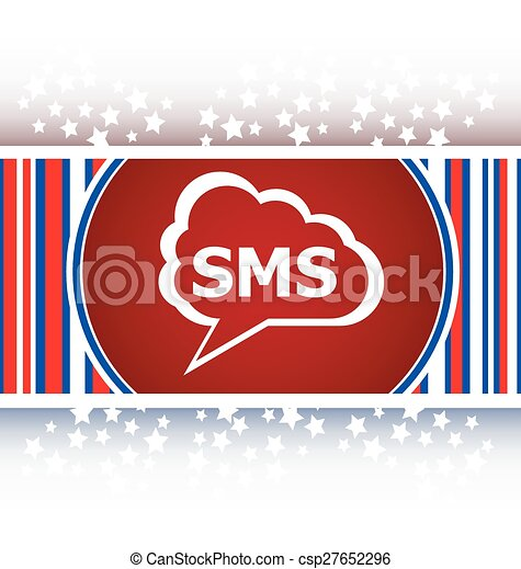 sms glossy web icon isolated on white background vector - csp27652296