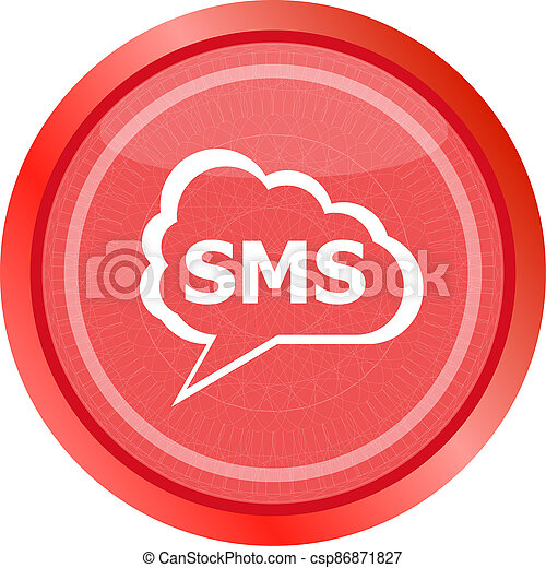 sms glossy web icon isolated on white background - csp86871827