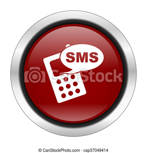 sms icon, red round button isolated on white background, web design illustration - csp37049414