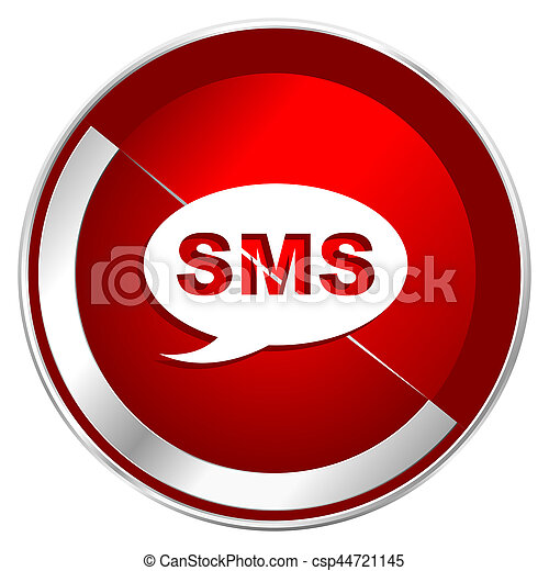 Sms red web icon. Metal shine silver chrome border round button isolated on white background. Circle modern design abstract sign for smartphone applications. - csp44721145