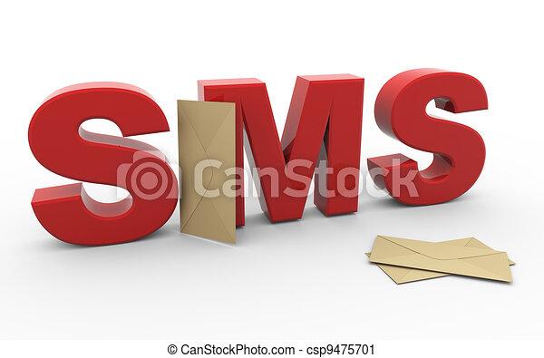 Sobre de 3D sms - csp9475701