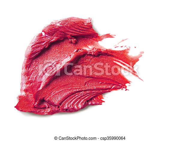 Smudged lipstick on white background - csp35990064