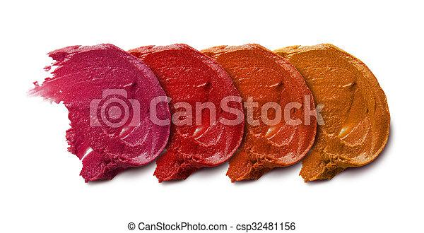 Smudged lipstick on white background - csp32481156