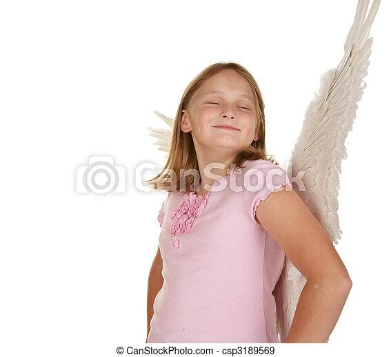smug angel fairy girl with wings - csp3189569