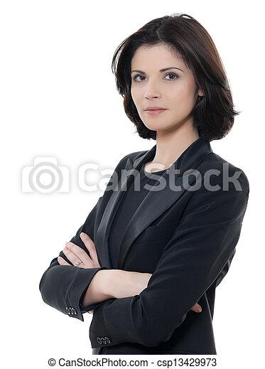 smuk kvinde, firma, isoleret, arme, graverende, studio, baggrund, portræt, kryds, hvid, æn, kaukasisk - csp13429973