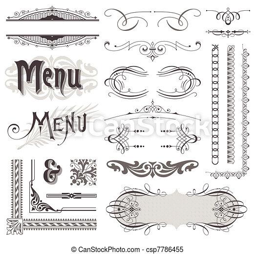 smyckad grundämnen, &, calligraphic, vektor, design, utsmyckningar, utsirad, sida - csp7786455