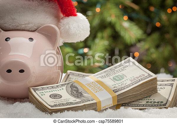 snöflingor, hatt, nasse, lagförslaget, hundra, bank, buntar, tröttsam, jultomten, dollar - csp75589801