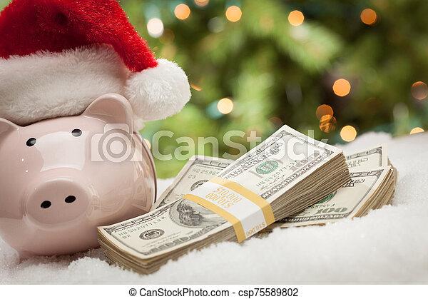 snöflingor, hatt, nasse, lagförslaget, hundra, bank, buntar, tröttsam, jultomten, dollar - csp75589802