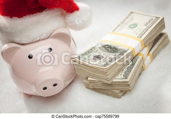 snöflingor, hatt, nasse, lagförslaget, hundra, bank, buntar, tröttsam, jultomten, dollar - csp75589799