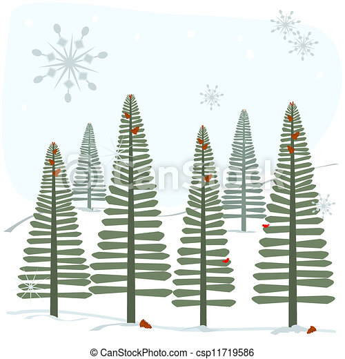 snöflingor, träd - csp11719586