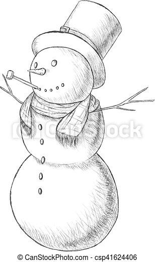 snögubbe, jul, årgång, -, illustration, hand, penna, vektor, röret, oavgjord, lång, hatt, style. - csp41624406
