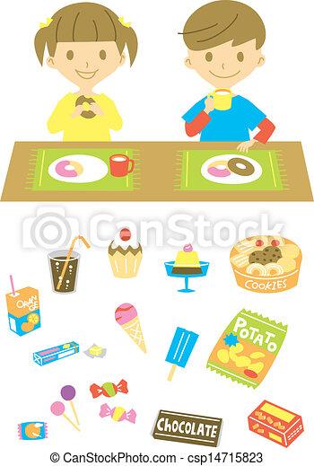 snack, cukroví, děti, rozmanitý, dostat - csp14715823