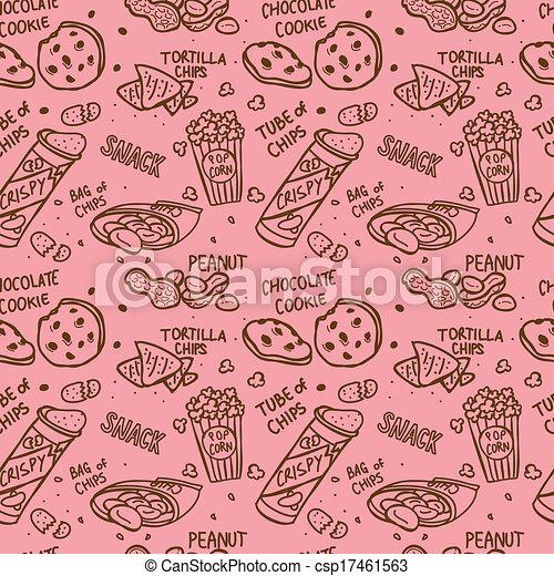 snack doodle background - csp17461563