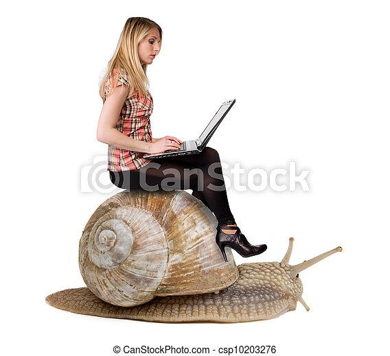 Attraktives blondes Mädchen mit Laptop auf Schnecken. Konzept der Langsamkeit und modernen Technologien. Auf weißem Hintergrund - csp10203276