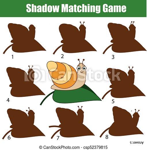 Snail., kinder, tiere, game., thema, aktivität, schatten, passend ...
