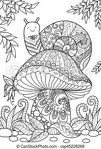 Snail on mushroom - csp45228269