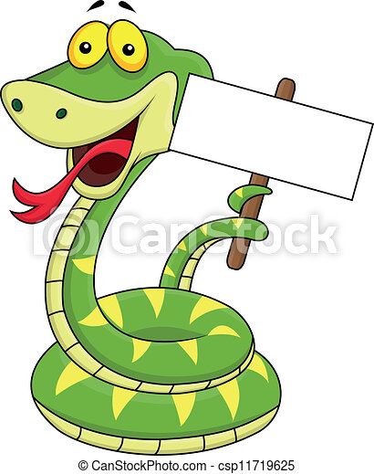 Snake cartoon with blank sign - csp11719625