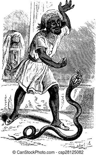 Snake Charmer, vintage engraving. - csp28125082