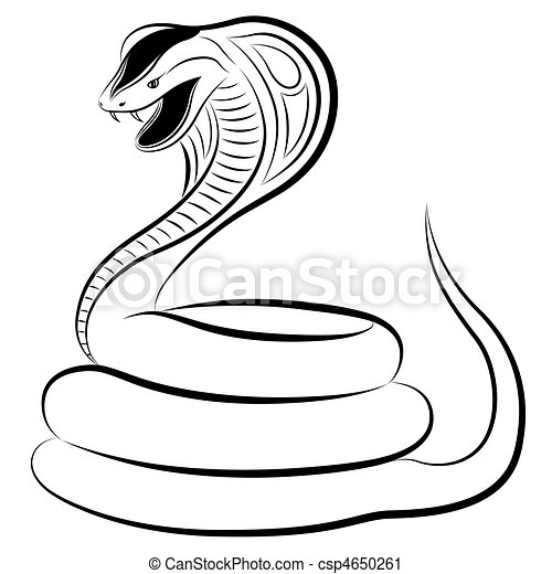 Toxic Symbol Black And White Snake, cobra. Cobra in...