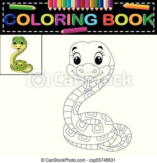 Illustration of snake coloring book.