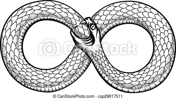 snake curled in infinity ring ouroboros devouring its own tail serpent tattoo design. Black Bedroom Furniture Sets. Home Design Ideas
