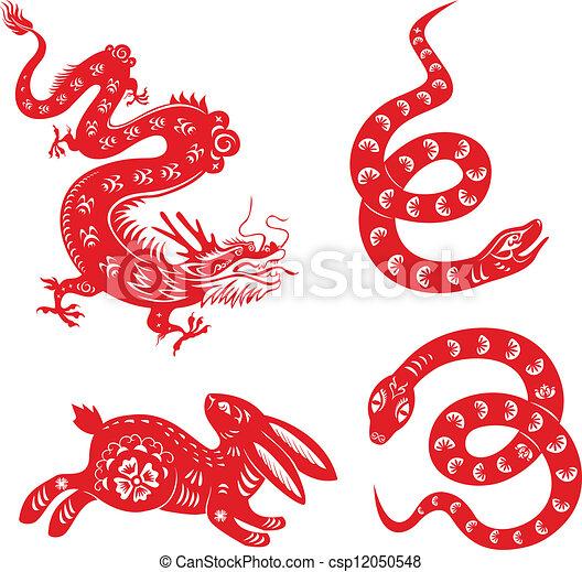 Snake, dragon, rabbit. - csp12050548