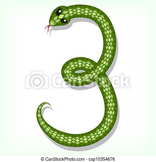 Snake font. Digit 3 - csp10354676