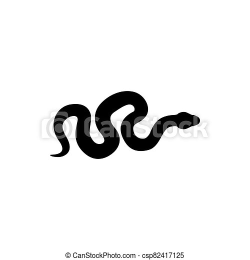 Snake silhouette illustration. Black serpent isolated on a white background. Vector tattoo design. - csp82417125