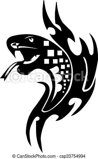 Snake tattoo design, vintage engraving. - csp33754994