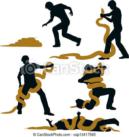 Snake wrestler - csp13417593